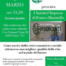 """Confesercenti di Ciriè, mercoledì 1° marzo i """"Salotti d'impresa"""" di Franco Marmello: come uscire dalla crisi economica e sociale"""