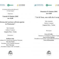 """""""La riforma del turismo all'aria aperta in Piemonte"""": venerdì 19 convegno organizzato da Assocamping-Confesercenti. E domenica 21 si parla di """"Val Susa, una valle da ri-scoprire"""""""